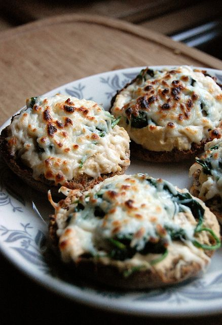 Hummus melts- whole wheat English muffin topped with hummus, sauteed spinach and mozzarella cheese- so easy.