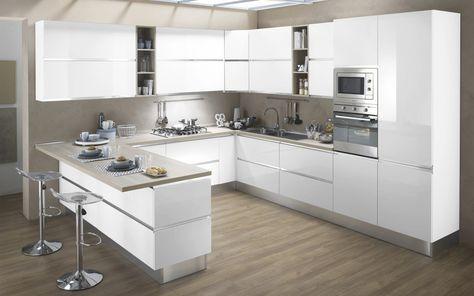 Cucina componibile, bianco, bianco lucido | : Veronica DFCF ...