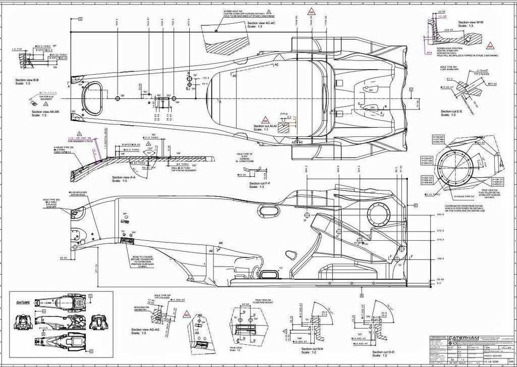 Caterham CT05 F1 2014 car Monocoque drawing | Pedal kart | Pinterest ...