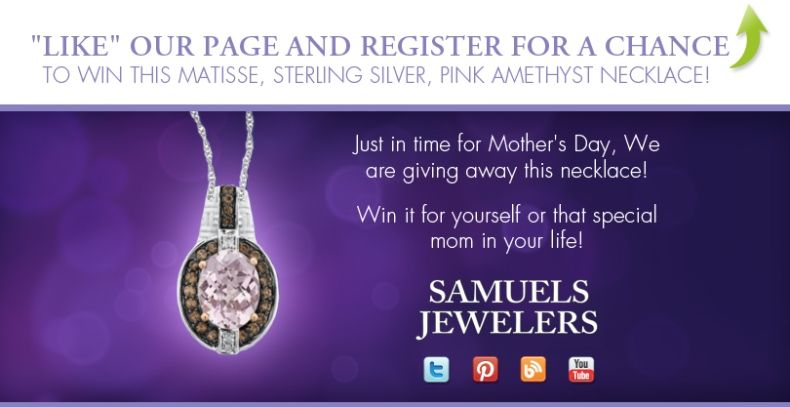 I just entered the Samuels Jewelers' Mother's Day Contest! Click this Pin to see how to enter to win a Matisse, Sterling Silver, Pink Amethyst Gemstone Pendant