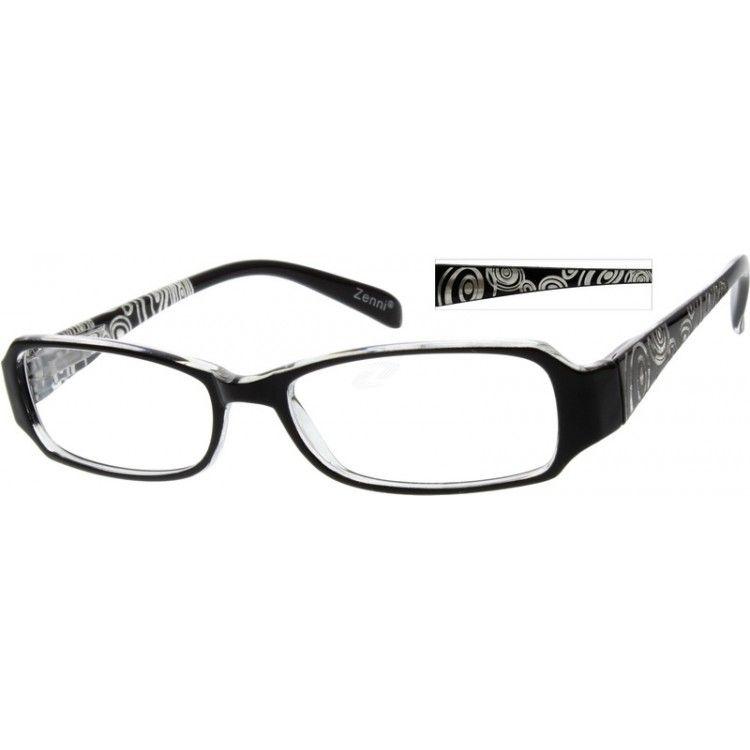 Zenni Womens Rectangle Prescription Eyeglasses Black Plastic 236121 ...