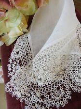 Very Fine Deep Tatted Lace Antique Bridal Handkerchief Wedding Heirloom