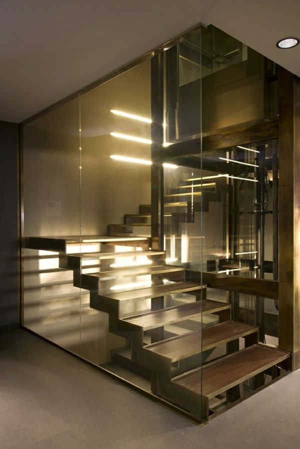 Beleuchtung Stiegenhaus treppen gestaltungsideen glasisolator beleuchtung eingebaut stairs