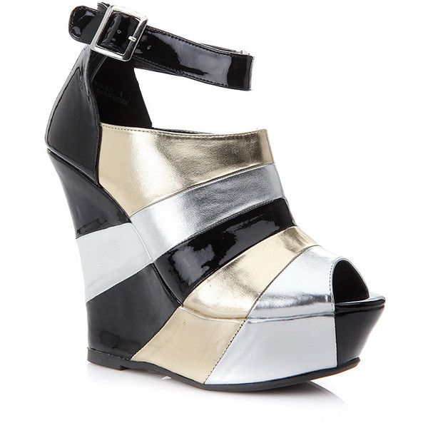 CiCiHot Dollhouse  Peep Toe Ankle Strap Abstract Angle Wedge (180 EGP) ❤ liked on Polyvore featuring shoes, colorful shoes, wedge heel shoes, ankle strap platform shoes, peep toe ankle strap shoes and multicolor shoes