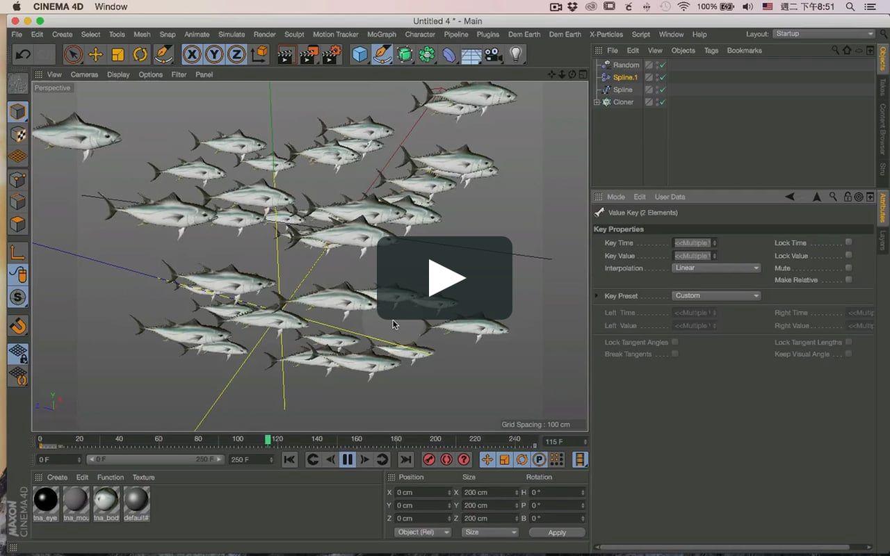 簡單的製作魚群方式 FB粉絲頁 https://i0.wp.com/www.facebook.com/groups/657224537772920/ (With images) | Cinema 4d tutorial, Tutorial, Cinema 4d