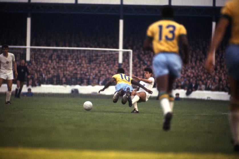 Pele received some harsh tackles throughout WC 1966. As seen here against Bulgaria