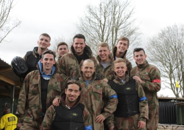 Ricky Rayment, Little Chris Drake, James Lock,Dan Osbourne  and their mates enjoy Paintball in Hemel Hempstead.