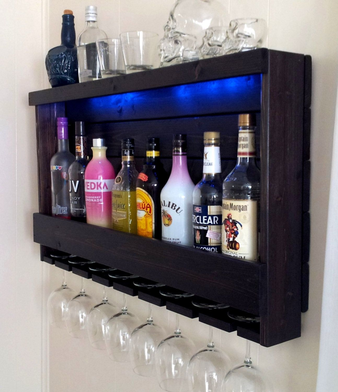 Esszimmer Schrank Mit Weinfach Wine Rack Rustic Liquor Cabinet Battery Operated Led Lights