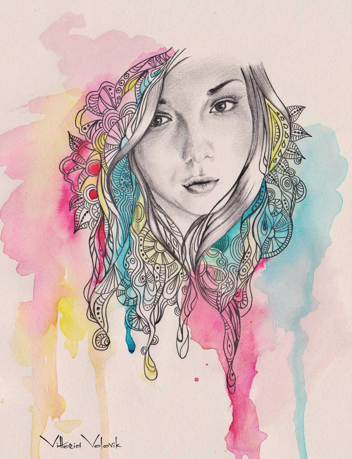 Original Custom Portrait Mixed Technique Watercolors Pencil