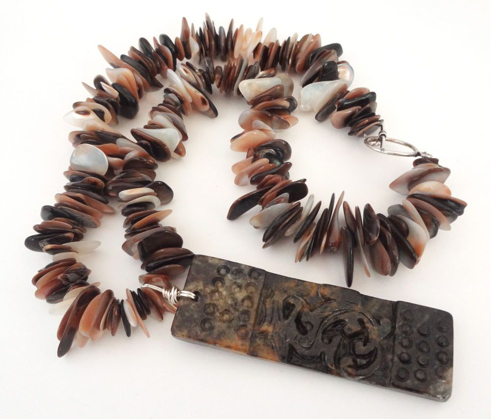 Absolutely Beautiful Jade Dragon Pendant and Shell Beads! #elegantkb #jade #jewelry