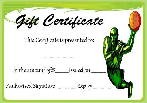 Basketball Gift Certificate Template  Basketball Certificate