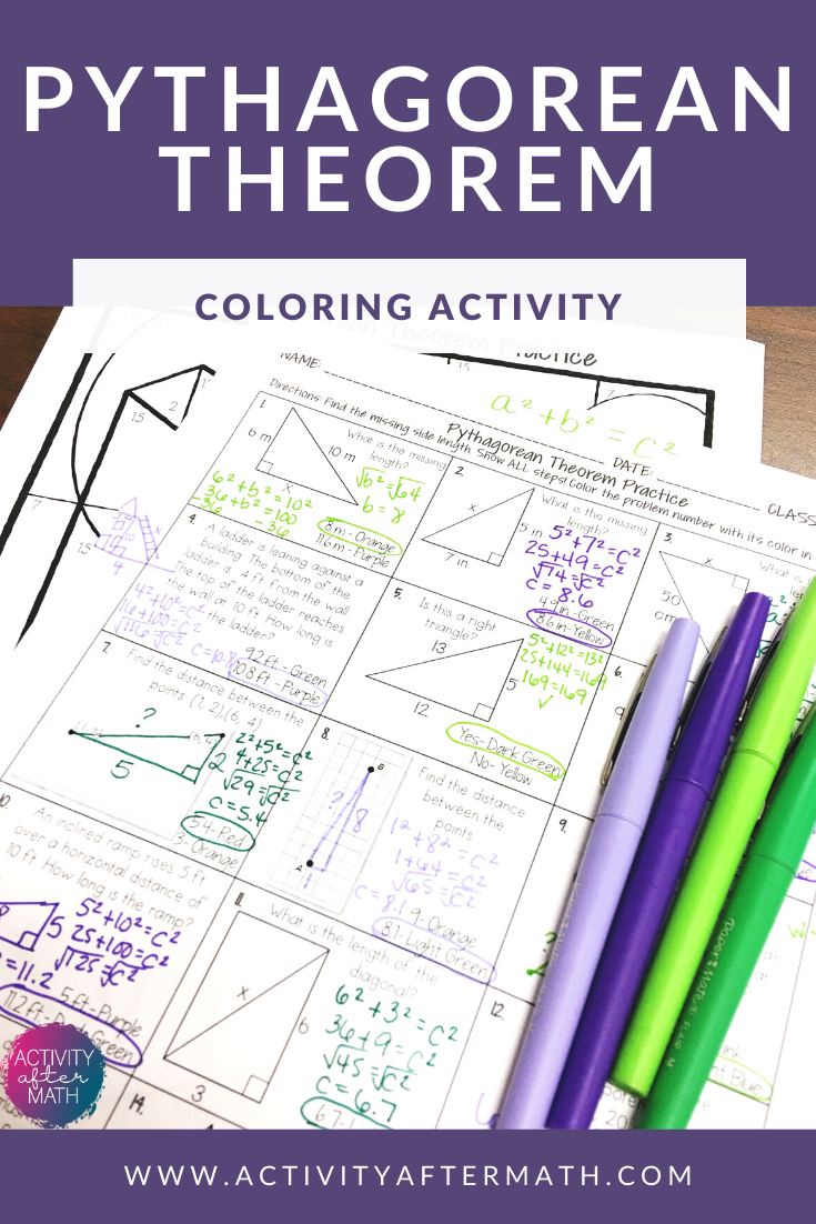 Fresh Ideas - Pythagorean Theorem Coloring By Number Pythagorean