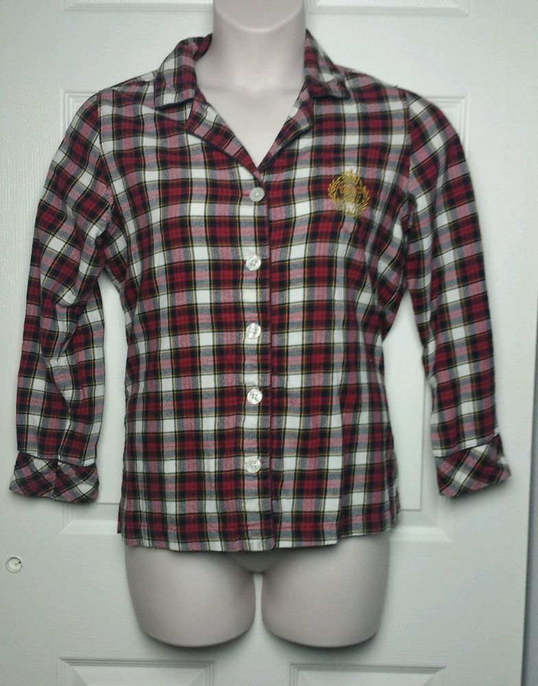 0dfedf4042be CHAPS Women s Pajama Plaid Top Sz Medium M Red Yellow Black Ralph Lauren   Chaps  PajamaTop
