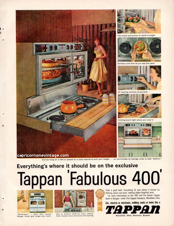 Vintage 1959 Tappan Oven Magazine Ad Fabulous 400 Kitsch 1950s Tappan Print Ads Retro Kitchen Decor