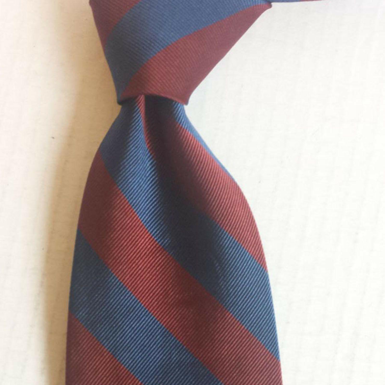 Jos A Bank Men silk Dress Neckwear tie Blue Red Stripes