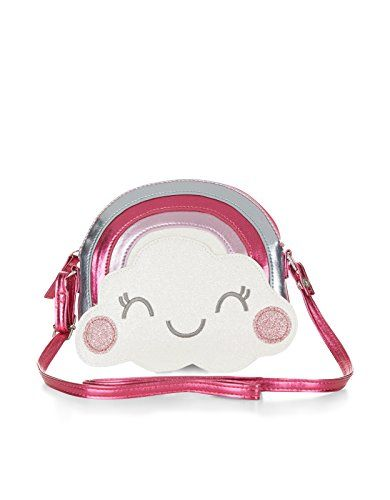 Accessorize Womens Rainbow Cloud Face Across Body Bag  Make a wish with our novelty metallic pink and silver rainbow bag for girls, decorated with a glittery cloud appliqué. Features a zip-top fastening and a shoulder strap. Warning! Not suitable for children under 36 months. Make a wish with our novelty metallic pink and silver rainbow bag for girls, decorated with a glittery cloud appliqué. Features a zip-top fastening and a shoulder strap. Warning! Not suitable for children under ..