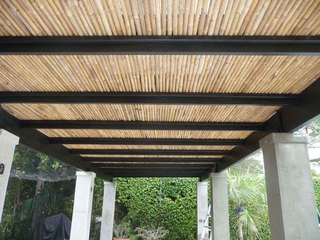 Garden , Natural And Artistic Eco Friendly Bamboo Pergola Design :  Waterproof Bamboo Roof Pergola Design