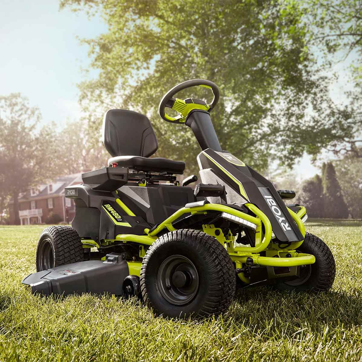 Ryobi Rm480e Riding Lawnmower Electric Riding Lawn Mower Riding Lawnmower Riding Lawn Mowers