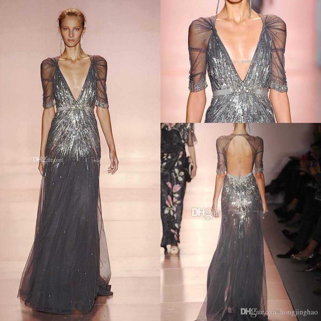 2016 Gossip Girl Blair Waldorf Evening Dresses V Neck Sheer Floor ...