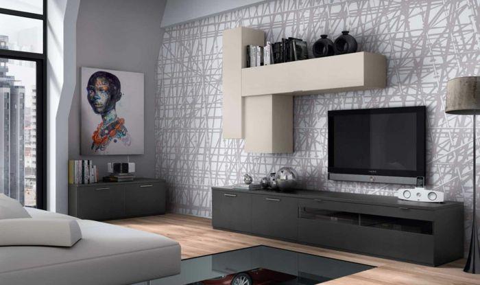 kleines wohnzimmer einrichten wandregale mustertapete grau weiß ...