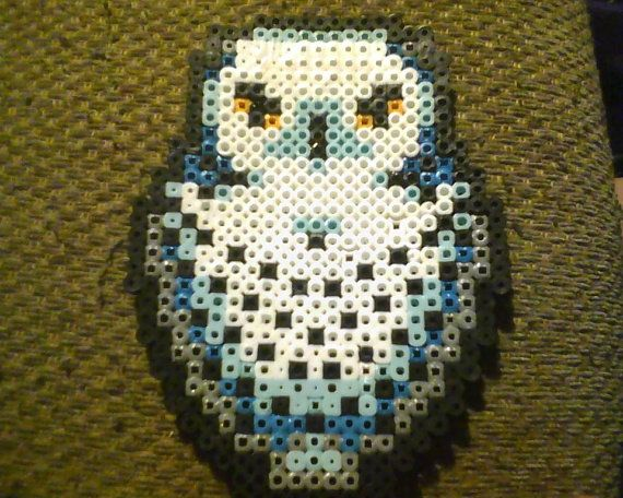 Hedwig the Owl Harry Potter Perler Bead Creation by GearsGalore Awesome Owl Perler Bead Patterns