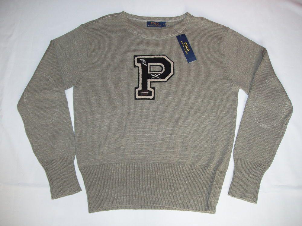 NWT Men's Polo Ralph Lauren Varsity Crew-Neck Pull Over Sweater  Elbow Patches  #PoloRalphLauren #CrewneckSweatshirt