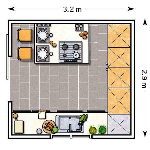Doce cocinas con barra y sus planos cocina cuadrada for Planos cocinas modernas