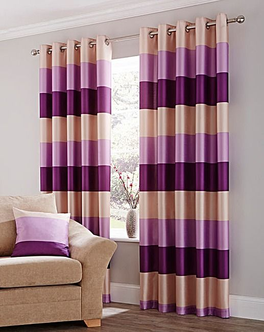 Faux Silk Striped Eyelet Lined Curtains J D Williams Lined Curtains Curtains Living Room Curtains