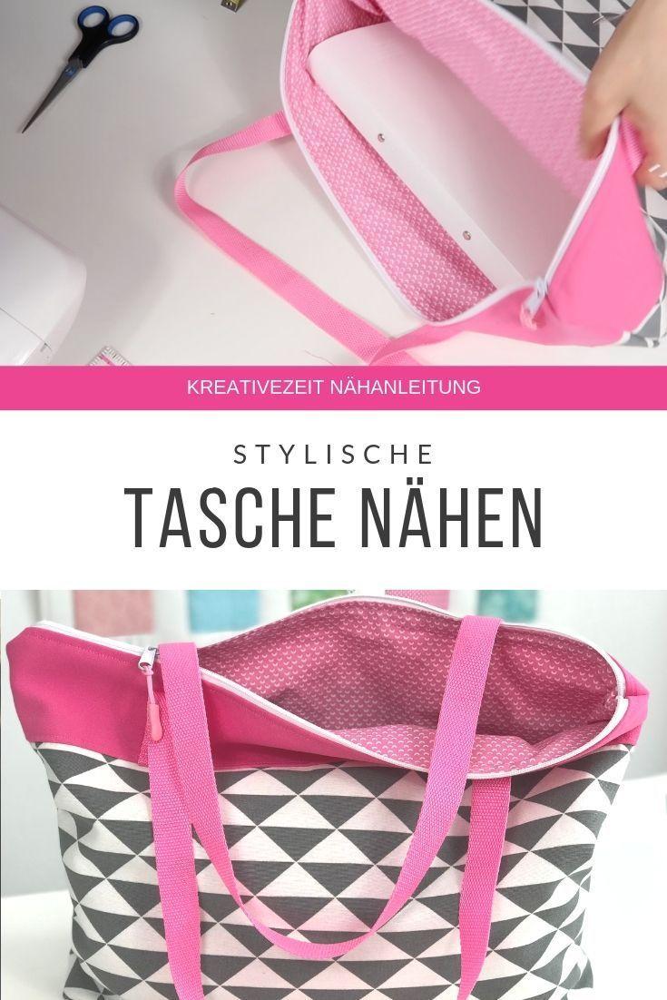 Einfache Tasche mit Reißverschluß nähen *Anleitung mit gratis Schnittmuster* - Freebook!