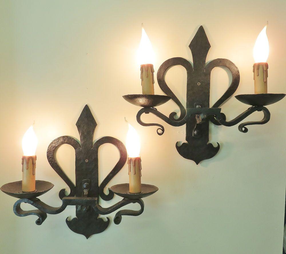 Large pair vintage french wrought iron sconces wall lights fleur de ...