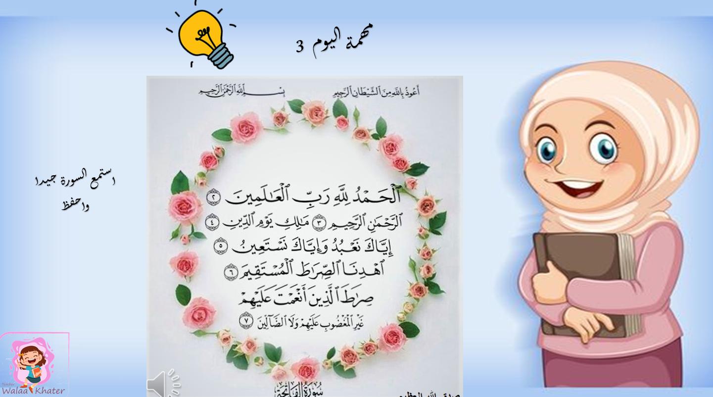 بوربوينت درس سورة الفاتحة للصف الاول مادة التربية الاسلامية Frame Decor