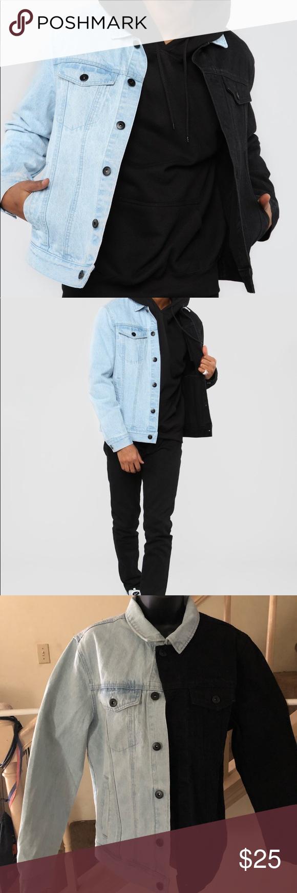 Two Tone Denim Jacket Black Combo Black Denim Jacket Denim Jacket Jackets