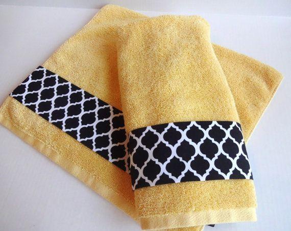Custom Towels Grey Bathroom Towels Hand Towels Design Your Own Towels Yellow And Grey Yellow And Grey Bathroom Yellow Chevron Toalhas Toalhinhas De Renda