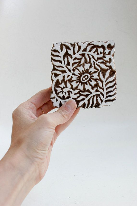Hand carved wood textile india block stamp?$11.25