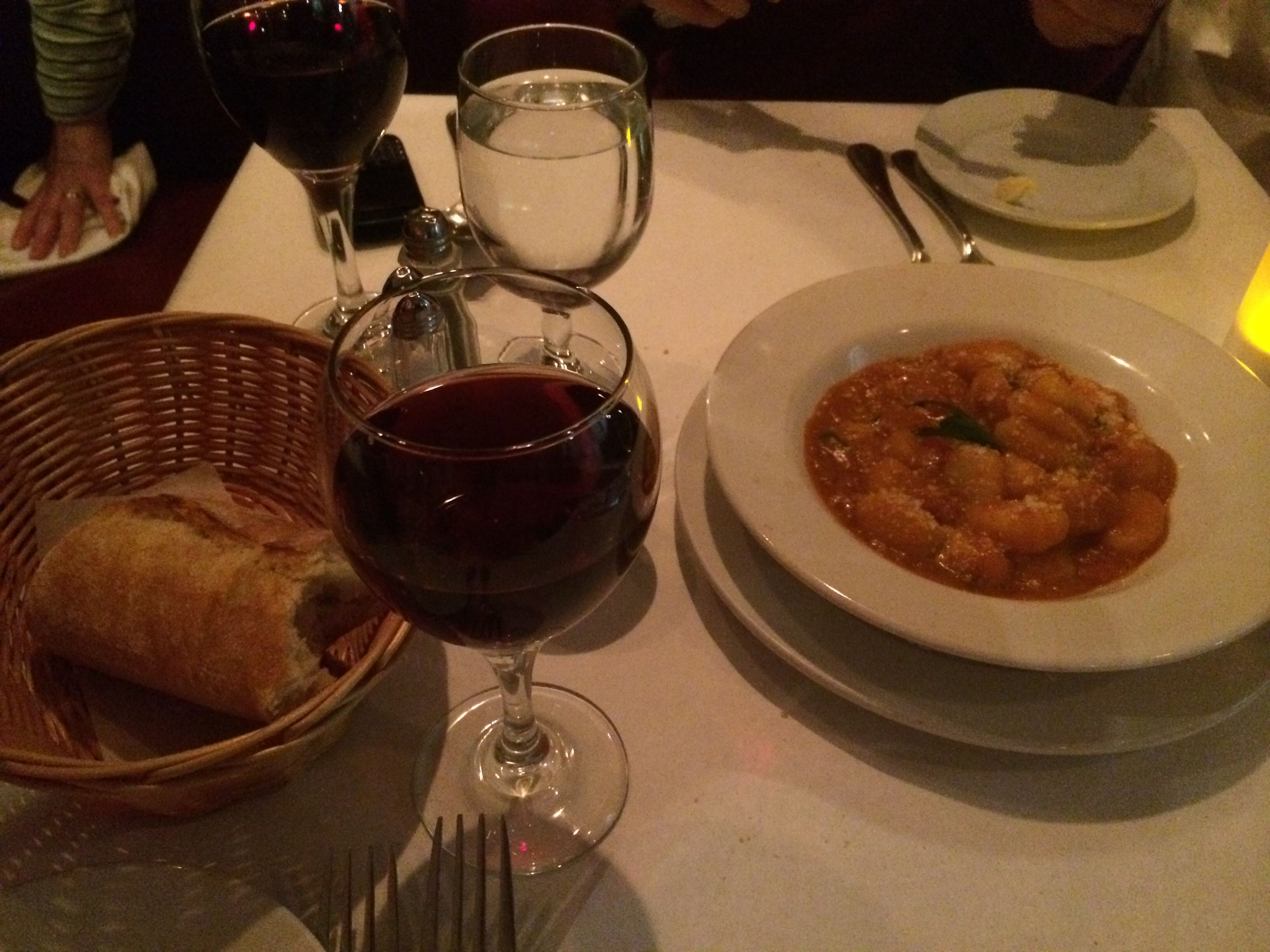 Gnocchi in tomato basil pinot noir and french bread