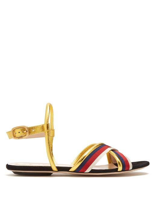 85633516658b2 GUCCI Sylvie Web-Trimmed Leather Sandals.  gucci  shoes  sandals