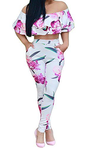 bd17cba3d5b3b7 Nulibenna Womens Off Shoulder Ruffle 2 Piece Outfit Printed Crop Top Long  Pant Sets
