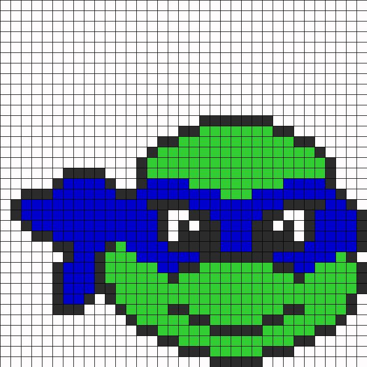 Tortue Ninja Point De Croix Pixel Art Beading Patterns