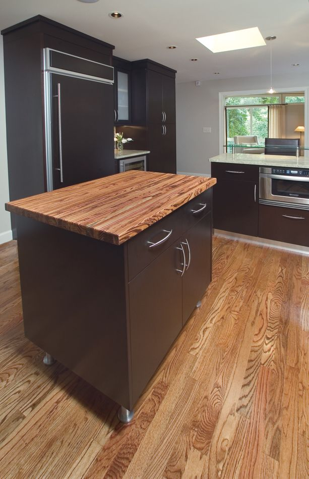 Working Island With Zebrawood Counter Top Practical Simply Maintain With Mineral Oil And You Will Kitchen Solutions Countertops Butcher Block Countertops