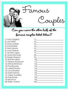 free printable bridal shower games and activities