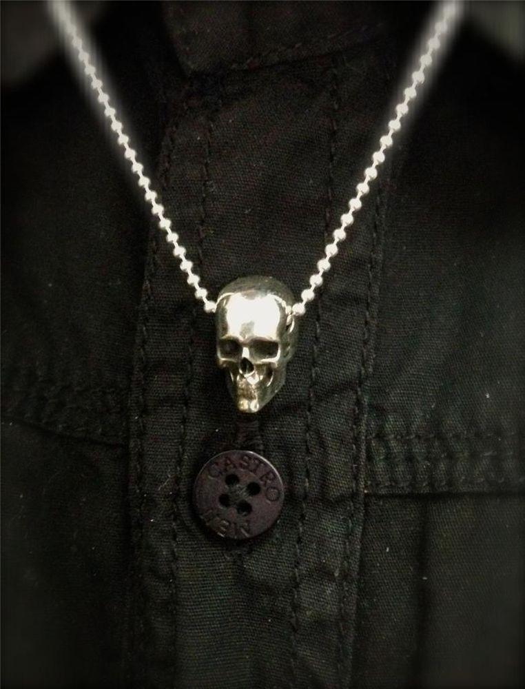 52da68be7a7d Skull Pendant - Sterling Silver 925 - Handmade - Custom Necklace  blacksnow   Pendant
