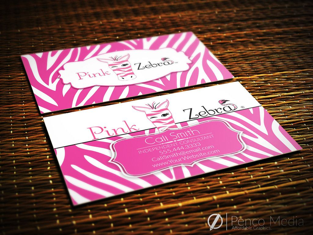 Custom Pink Zebra Business Card Design 1 Business Card Design Card Design Pink Zebra
