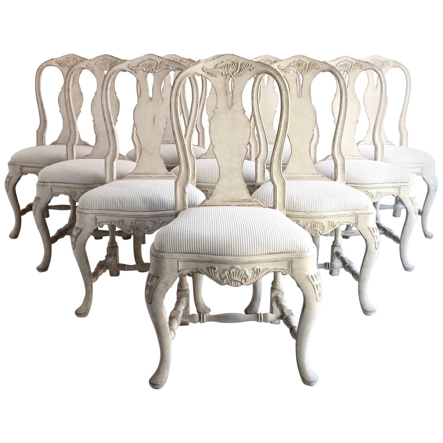 of Ten Antique Swedish Rococo Style Dining Chairs