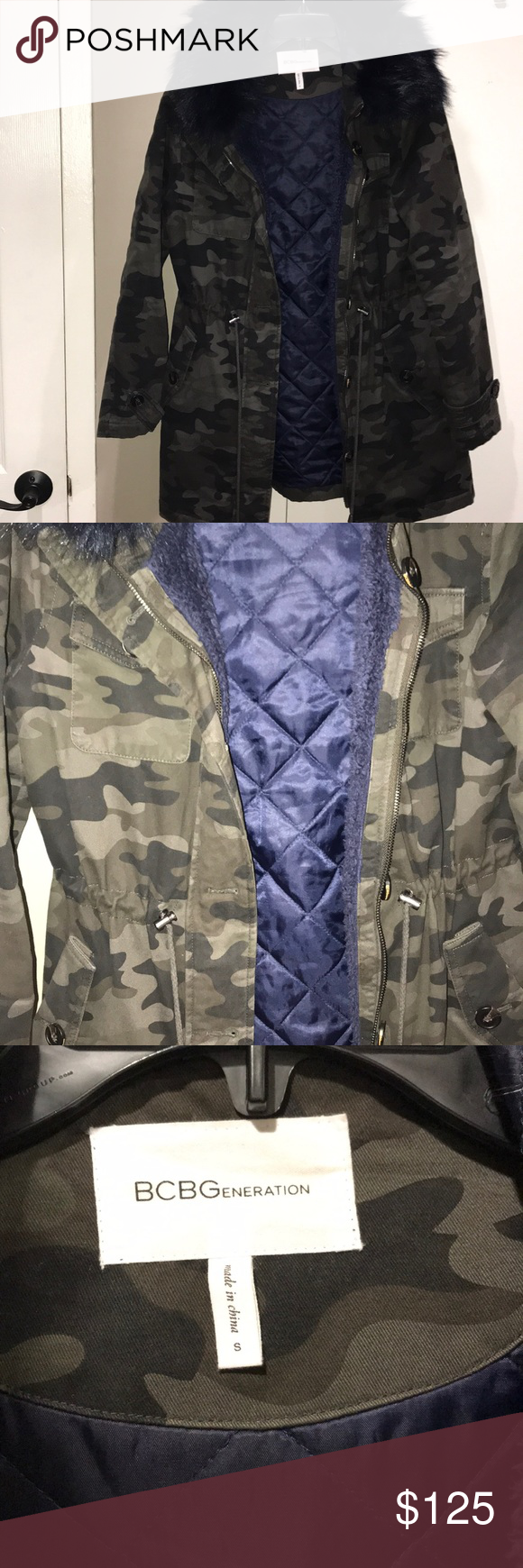 """807e19ef9e233 BCBG Camo Print Coat Gently used but in great condition: very warm with  detachable faux fur trim. Drawstring at waist. Machine washable! About 31""""  long."""