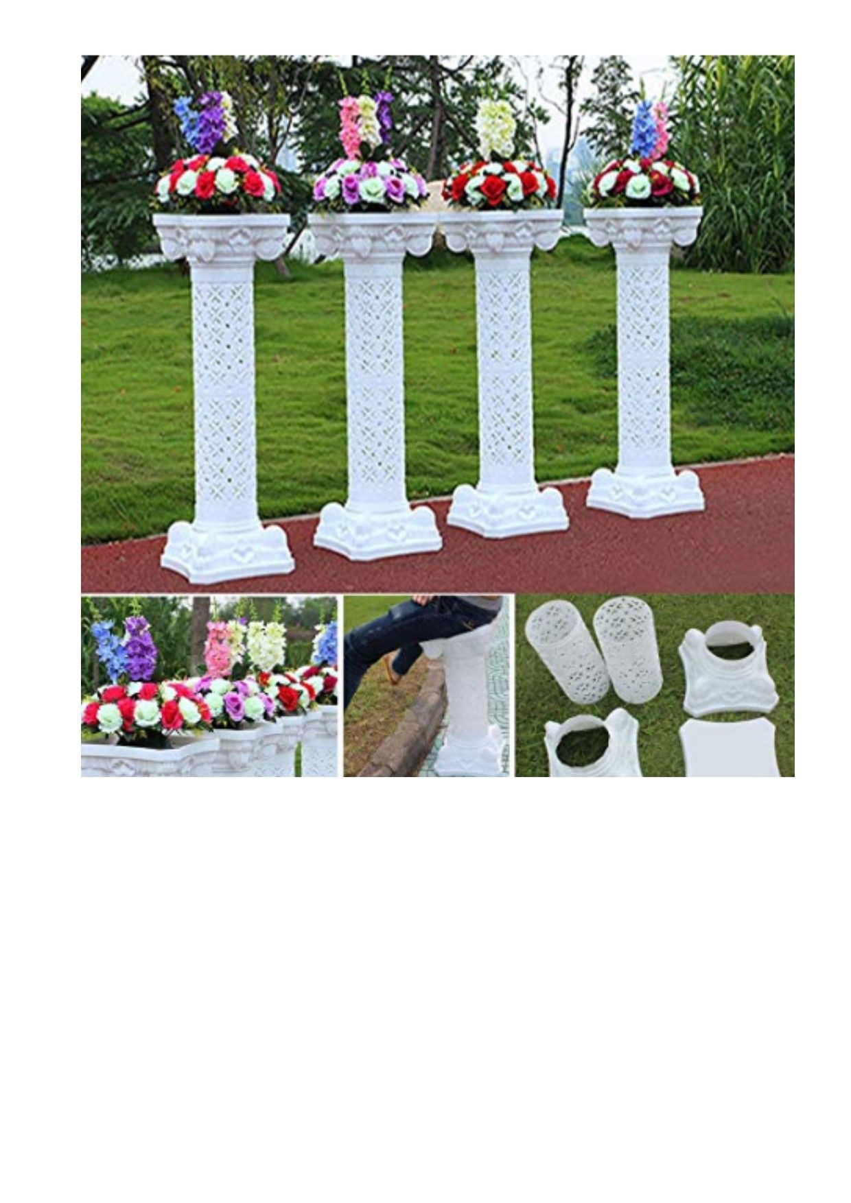 2Pcs Photography Props Plastic Roman Pillars Column