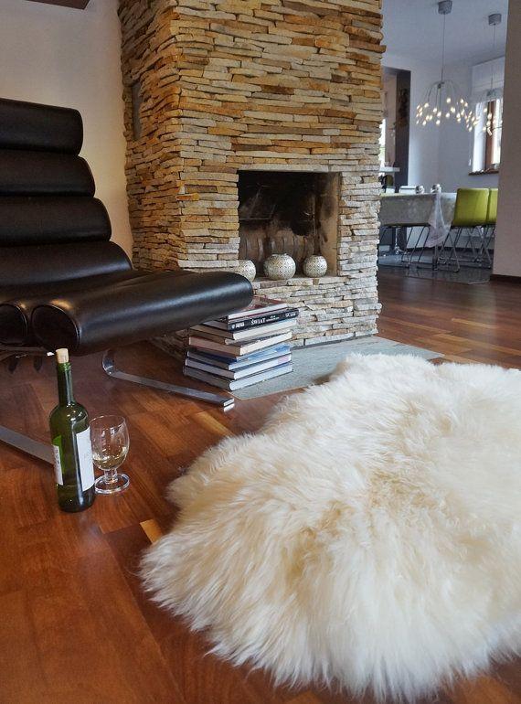 Original Giant Xxl 50 X 30 White Genuine Natural Sheepskin Rug