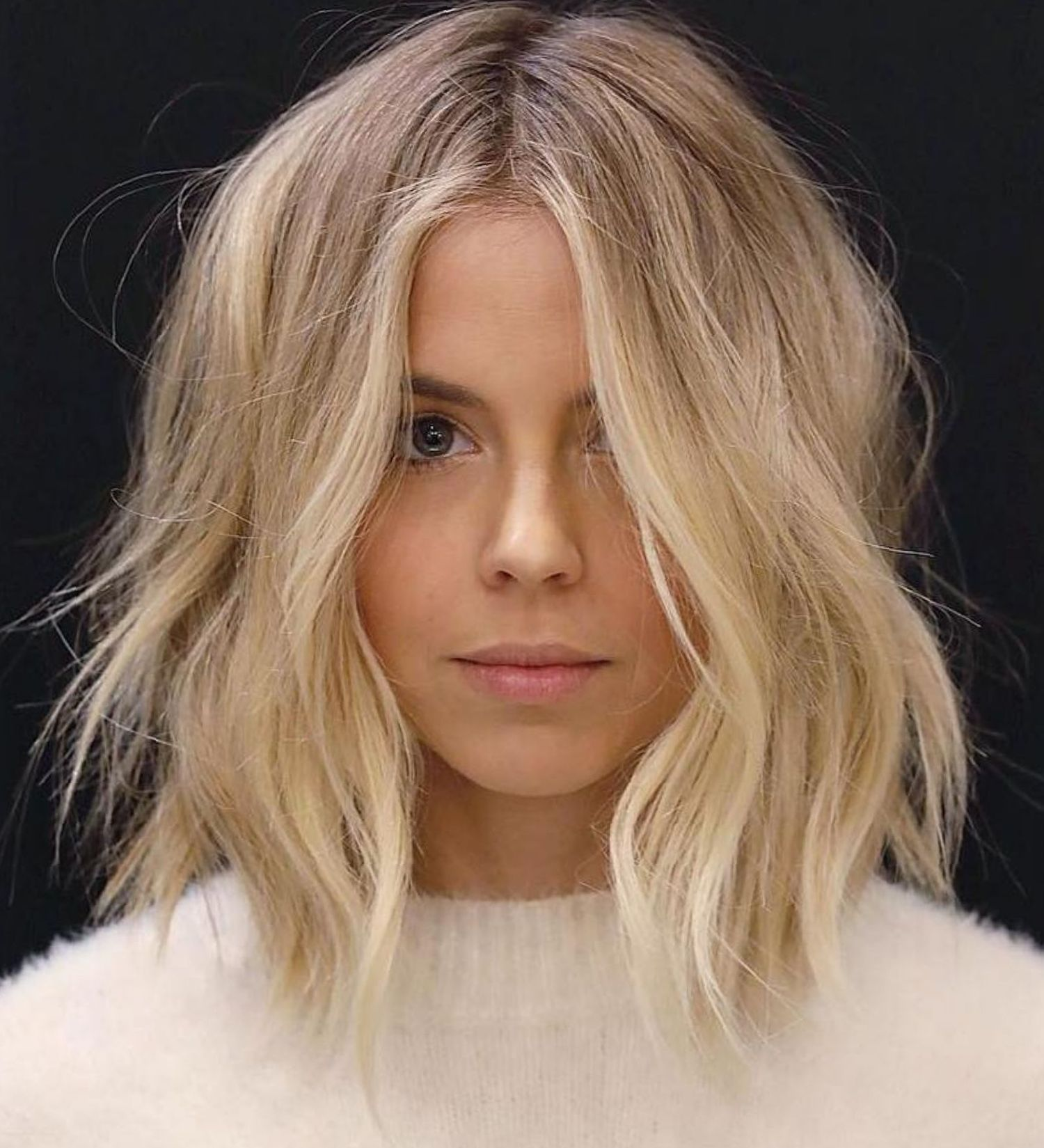 Long Choppy Bob With Middle Part   Hair styles, Curls for ...