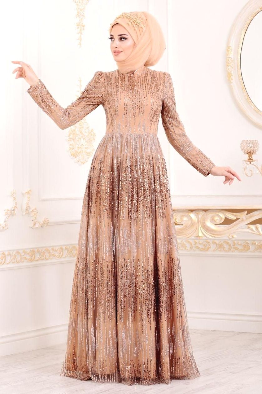 Tesetturlu Abiye Elbise Tesetturlu Abiye Elbise Simli Payetli Gold Tesettur Abiye Elbise 2083gold Gold Evening Dresses Soiree Dress Dresses