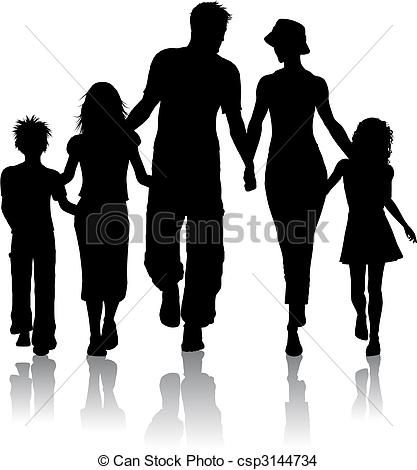 vector family silhouette stock illustration royalty free rh pinterest com free clipart family tree free family clipart images