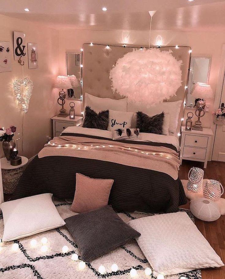 Teen Girl Interior Design-Ideen, Farbschema für Bettwäsche, Fußböden und viele Dekorideen #teenroomdecor